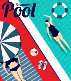 summer backdrop swimming pool bikini woman icons