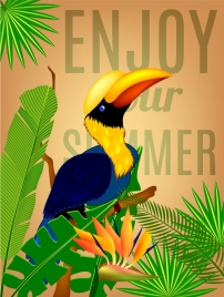 summer background colorful parrot icons tropical leaves ornament