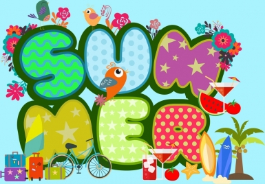 summer background colorful text travel icons design