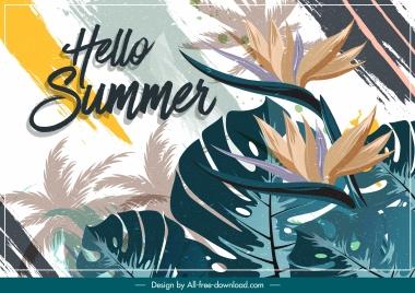 summer background leaf flower decor grunge retro design
