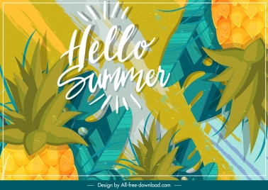 summer background pineapple decor colorful classic design