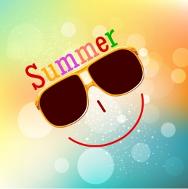 summer background smiley face icon bokeh backdrop