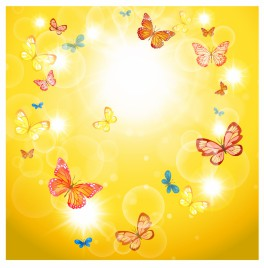 Summer background with sunshine and butterflies