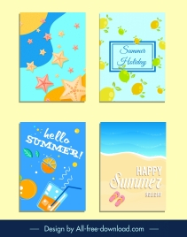 summer backgrounds templates bright colorful flat decor