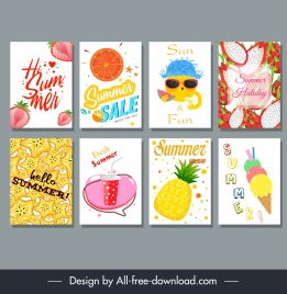 summer backgrounds templates colorful emblem decor