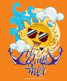 summer banner funny stylized sun cute design