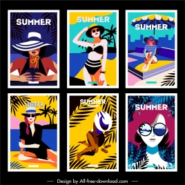 summer banner lady beach fashion sketch cartoon characters