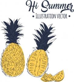 summer banner pineapple icons handdrawn design