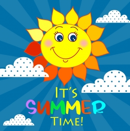 summer banner stylized sun icon