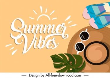 summer banner template slipperies sungless hat leaf sketch