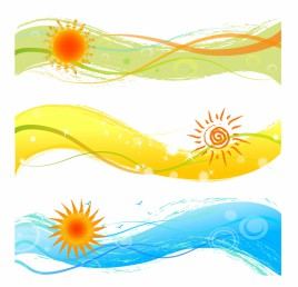 Summer banners with sun
