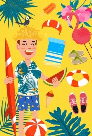 summer beach vacation design elements colorful cartoon decor