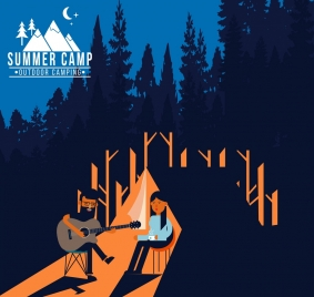 summer camp poster people playing guitar forest backdrop