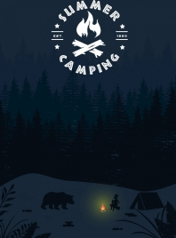 summer camping background tent human bear night icons
