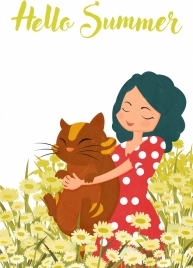 summer drawing flowers field girl pet icons