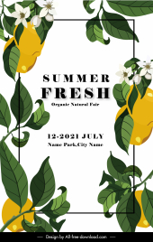summer fair advertising poster classical lemon decor elements