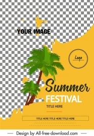 summer festival banner checkered decor coconut tree icon