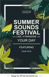 summer festive banner colorful dark design classical leaves