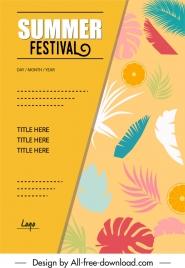 summer festive poster colorful fruit leaves decor