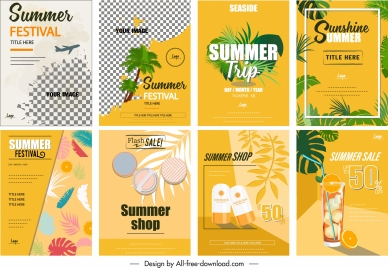summer flyer templates bright colorful classic design