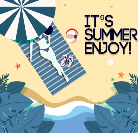 summer holiday banner bikini girl seaside icons ornament