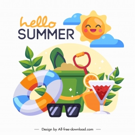 summer holiday banner colorful beach symbols sketch