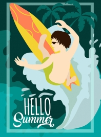 summer holiday banner excited surfer icon design