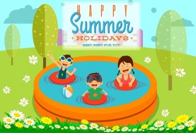 summer holiday banner joyful children swimming pool icons