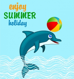 summer holiday banner joyful dolphin icon colored cartoon