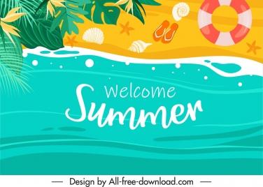 summer holiday banner seaside scene colorful flat design