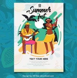 summer holiday poster dancing couple icon colorful classic