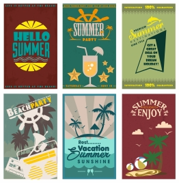 summer holiday posters sets with vintage design