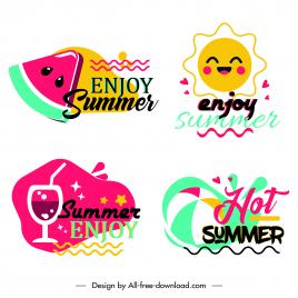 summer logo templates sun watermelon cocktail ball sketch