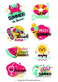 summer logotypes colorful classical flat symbols sketch