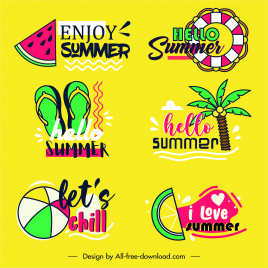 summer logotypes colorful flat handdrawn symbols