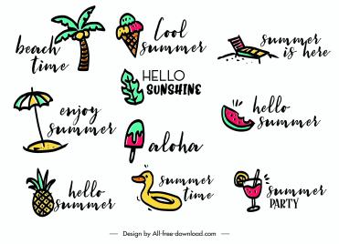 summer logotypes colorful flat handdrawn symbols sketch