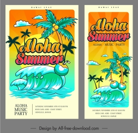 summer music banner classical colorful waves coconut decor