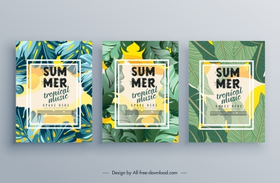 summer music poster templates green leaves decor