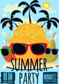 summer party banner funny design tropical style