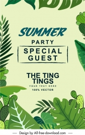 summer party poster green leaves sketch classical design