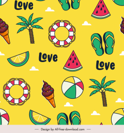 summer pattern template bright colorful flat symbols sketch