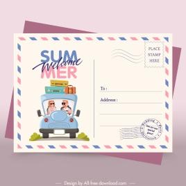 summer postcard template colored classical envelope decor