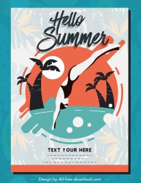 summer poster beach swimming sketch colored flat classic
