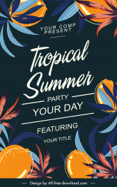 summer poster template elegant leaves decor dark multicolored