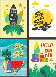 summer poster templates surfboard sea fruit icons