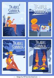 summer posters templates bikini girl sea scene sketch