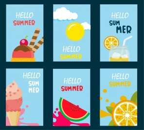 summer promotion banner sets food drink icons ornament