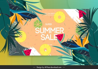 summer sale banner colorful flat classical nature elements