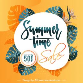 summer sale banner elegant leaves floral decor
