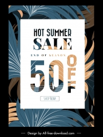 summer sale banner template elegant classical leaves decor